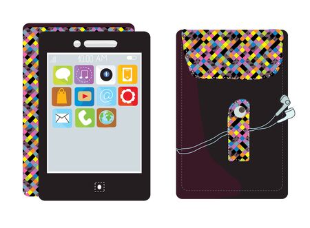 Mobile touchscreen phone with cover funny design Vector