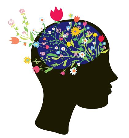 Girl head silhouette with flowers modern design Vector