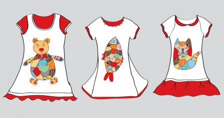 Dresses designs for little girl with funny paintings Stock Vector - 20882000