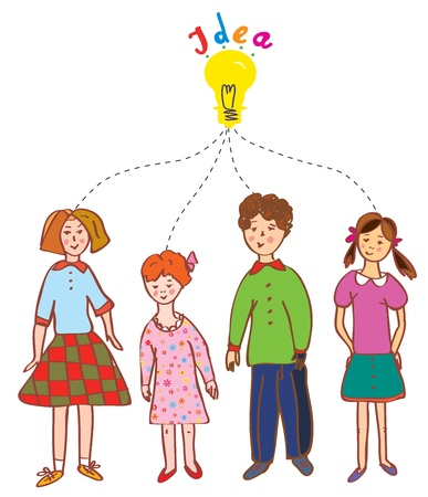 Group of children with idea bulb illustration Vector