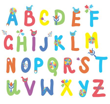 Funny alphabet for kids with flowers and birds  Vector
