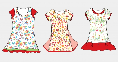 Dresses and t-shirt design for girl child  Vector