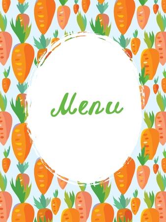 Menu template for vegetarian cafe - carrot funny design Vector