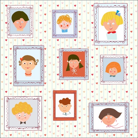 kindergarden: Kids portraits on the wall gallery - funny illustration