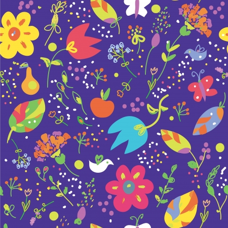 carnage: Floral seamless pattern with bird cute design