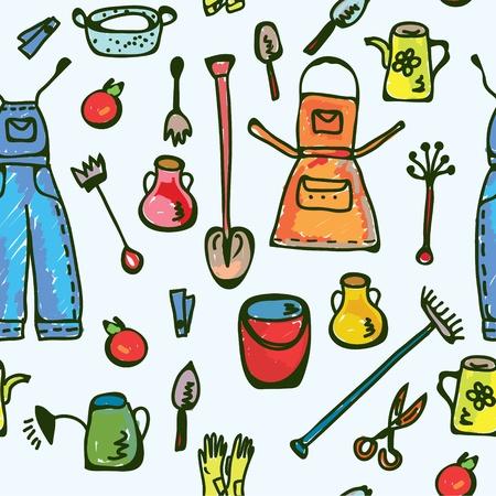 garden tool: Tools garden seamless pattern funny design