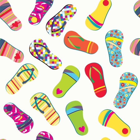 Summer flip flops seamless pattern funny design  Vector