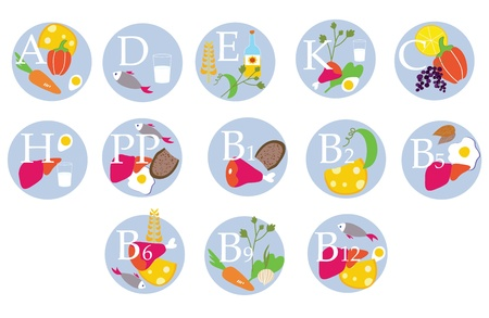 supplements: Vitamins table - funny icons  with food  Illustration