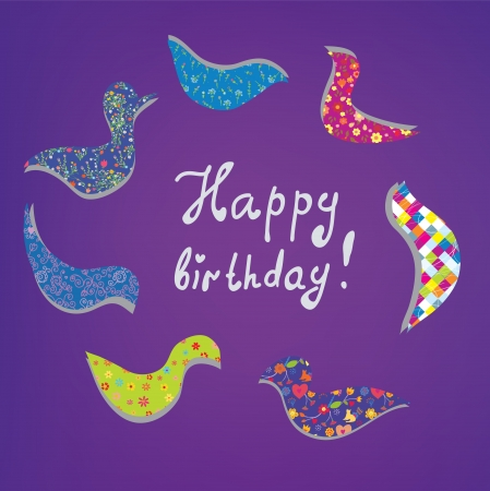 Happy birthday card cute design with birds Vector