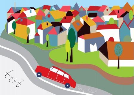 거리와 자동차 만화 도시 배경