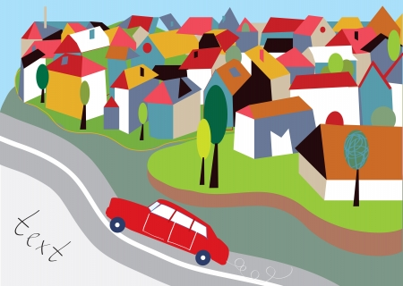 City background with street and car cartoon