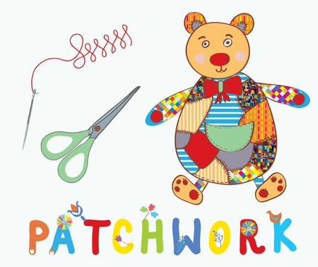 needlecraft: Patchwork background with teddy bear, needle and label cartoon