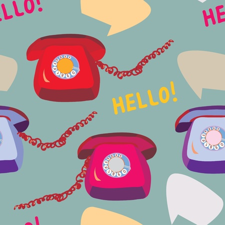 a pink cell: Retro phone seamless funny pattern design Illustration