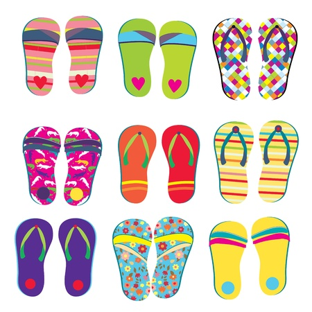 Flip flops funny designs set for summer Vector