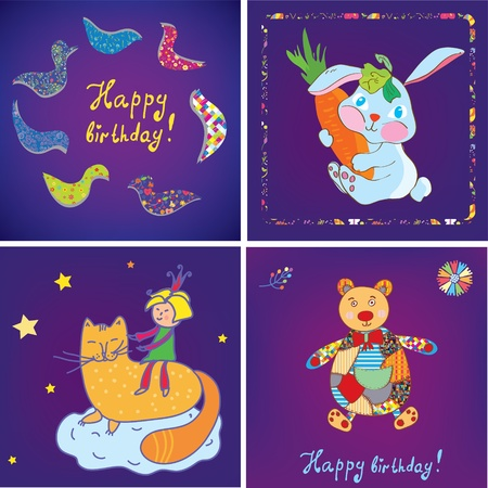 Birthday cards templates design set Vector