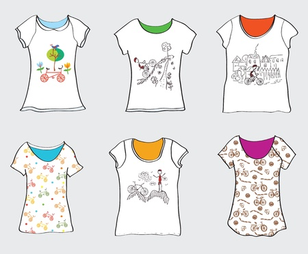 bicycling: Bicycle designs for t-shirts - funny patterns  Illustration