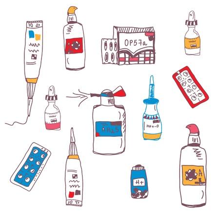 Pills and medical bottles doodle set Stock Vector - 21024846