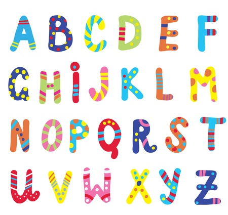 english text: Abc for children funny design