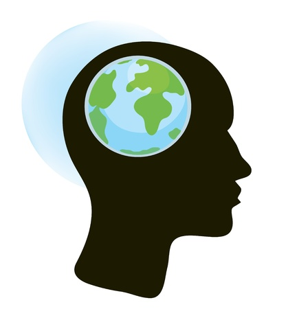 global communications: Brain and globe concept illustration
