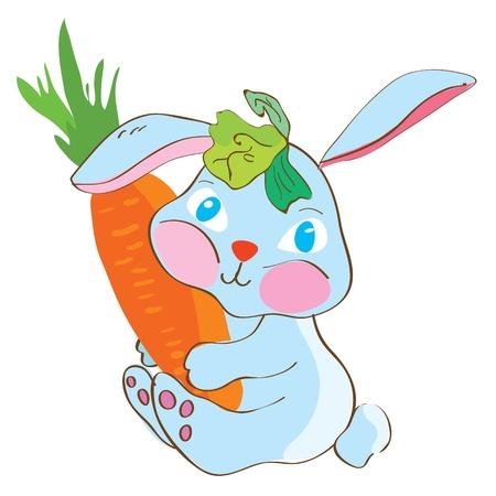 Rabbit with carrot funny cartoon Vector