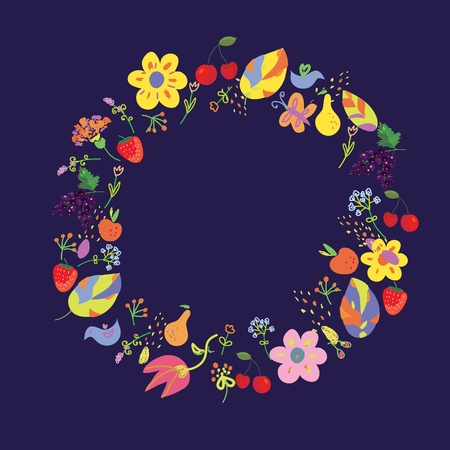 Summer and autumn circle with fllowers and fruits Vector