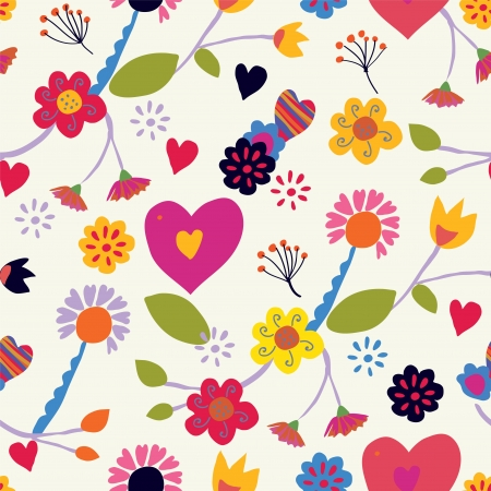 Floral seamless vintage pattern with hearts Stock Vector - 21728298