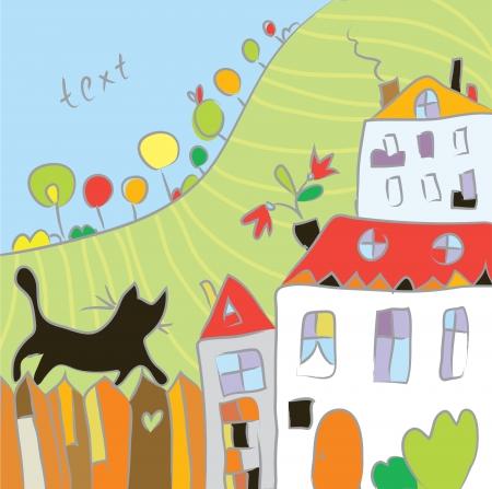 glades: Kid drawing autumn at the village cartoon