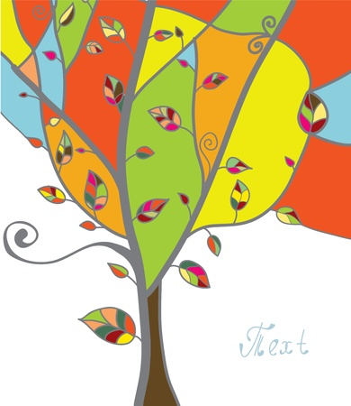 Autumn tree greeting card with leaves and branches Vector