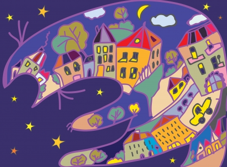 Greeting card with cat and night town - childish design Stock Vector - 22020135