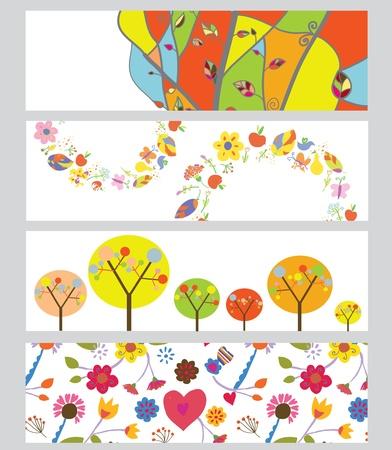 Autumn horizontal banners set funny design Illustration