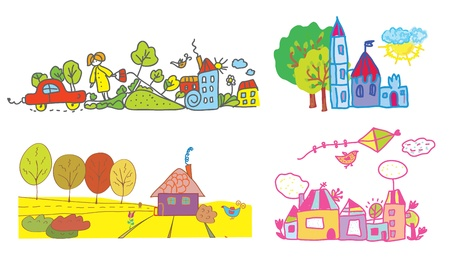 Funny background for kids - summer and autumn Vector