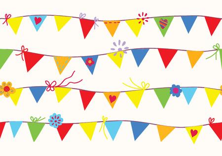 högtider: Bunting flaggor seamless rolig design Illustration