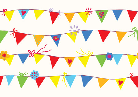 Bunting flags seamless pattern funny design Vector