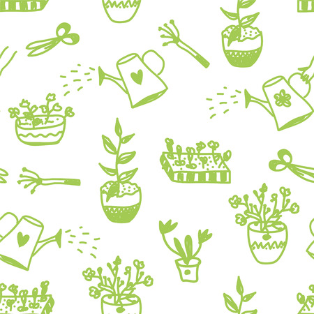 Garden flowers and tools seamless pattern cute design Vector