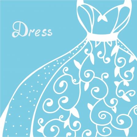 elegant dress: Wedding invitation with dress  - hand drawn design