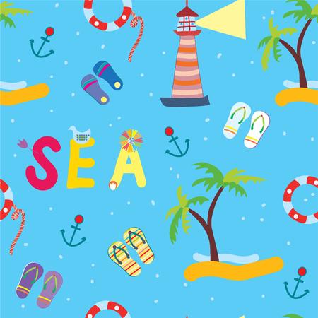 ancre marine: Sea drôle seamless pour les enfants Illustration