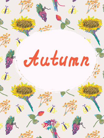 Autumn background template with pattern and frame Vector
