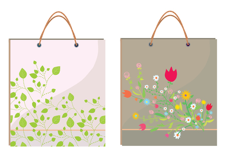 Bags template with leaves and flowers - ecology design Vector
