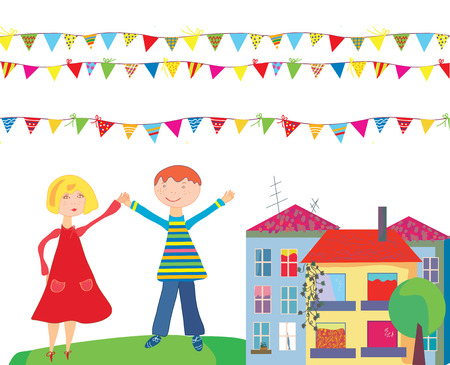 cottage garden: Kids at the holiday cartoon with flags and houses