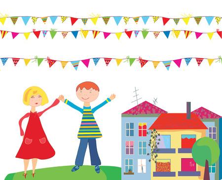 niños con pancarta: Los niños en los dibujos animados de vacaciones con banderas y casas