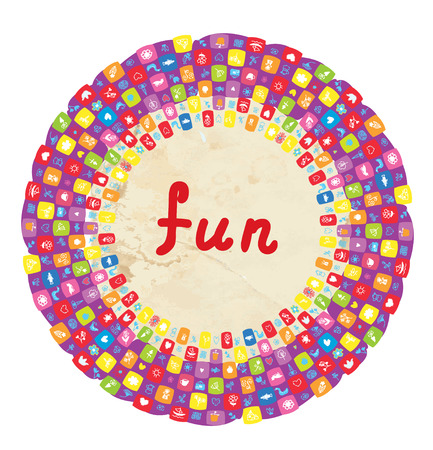 Funny round frame for kids with toys and flowers  Vector