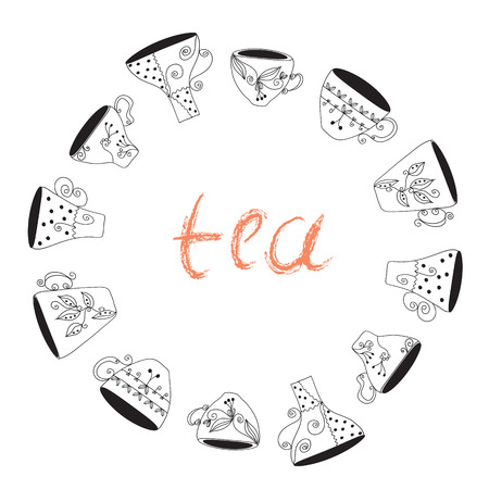 Tea cups frame funny banner hand drawn design Vector