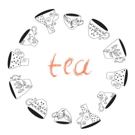 teacups: Tea cups frame funny banner hand drawn design