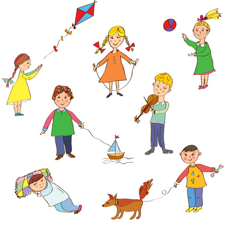 naughty child: Kids playing cute cartoons set  Illustration