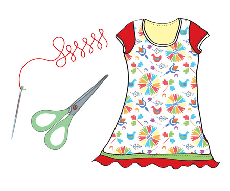 Sewing set with needle, scissors and dress icons Vector