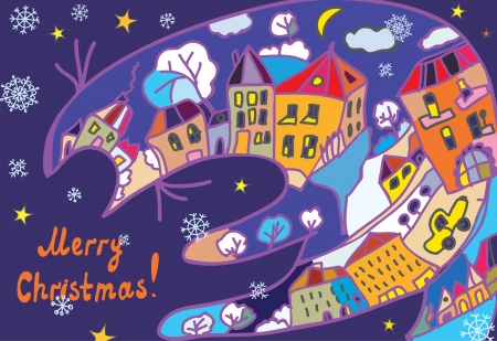 Christmas greeting card with town and cat at the night Vector