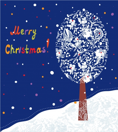 Christmas card with tree and fairytale landscape Vector