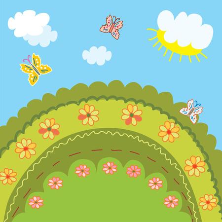 horizon over land: Summer landscape for kids funny design Illustration