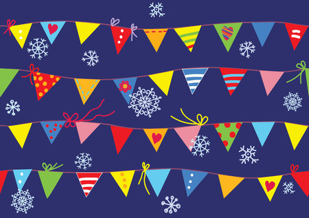 Bunting flags christmas pattern seamless cute design Vector