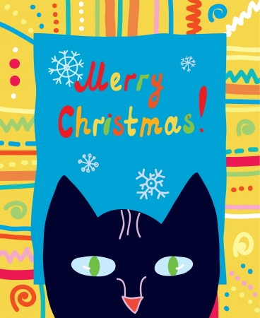 Christmas card with cat and frame funny design Vector